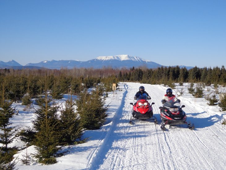 Parkway Scenic Loop Trail snowmobiling near Millinocket, Maine - photo: Richard Levasseur