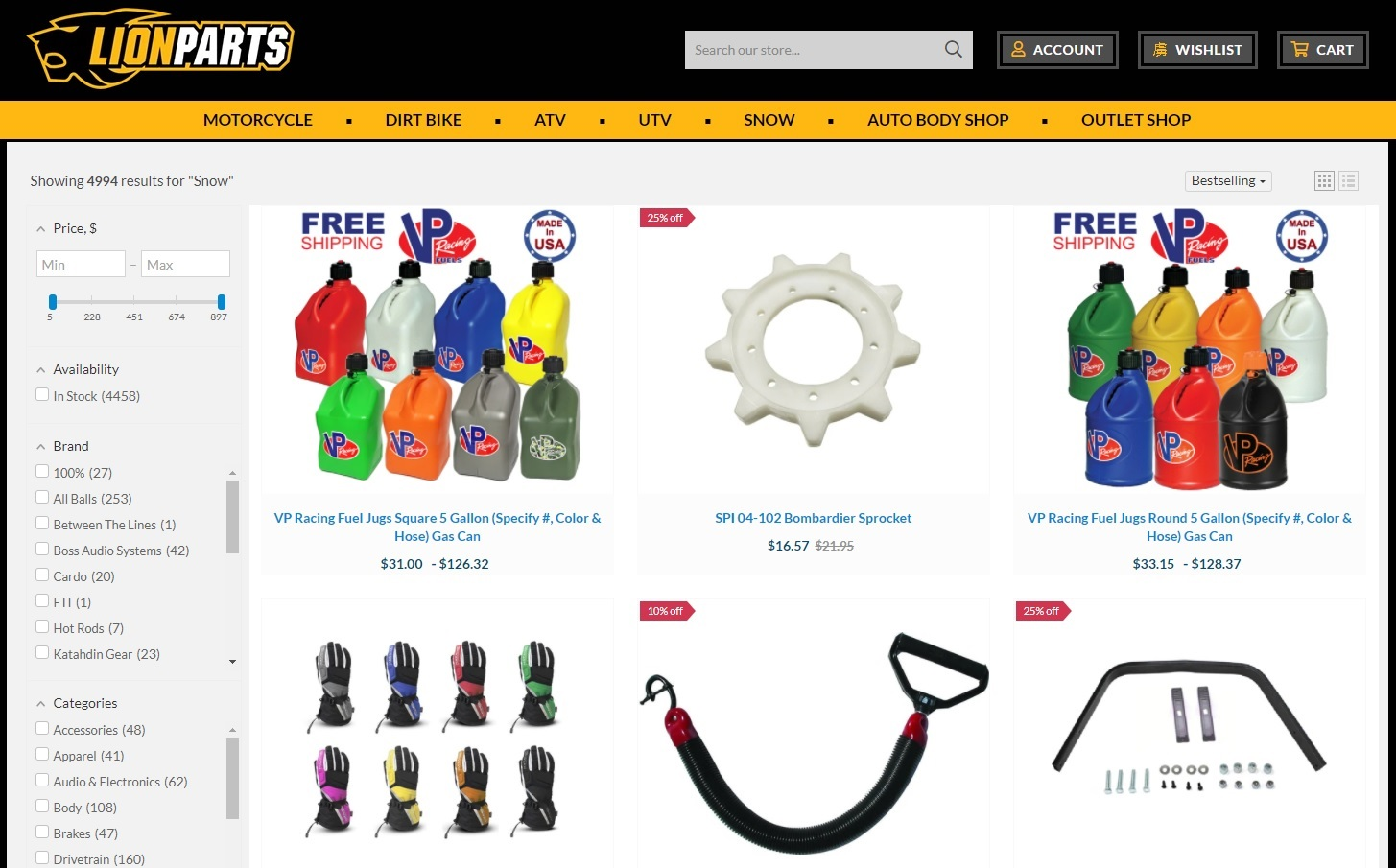 Snowmobile parts and accessories with free shipping in the US.